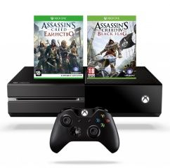 Игровая приставка Microsoft Xbox One 500Gb Rus Black (Черный) + Assassin's Creed: Единство (Unity) + Assassin's Creed: Черный Флаг (Black Flag) (Код на Загрузку) Microsoft Xbox One